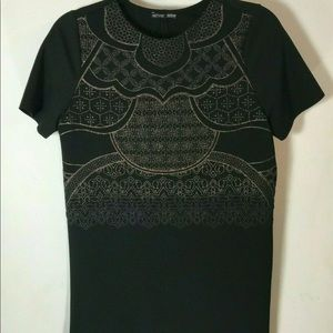 ZARA W/B Black Gold Shimmer Dress Size Medium